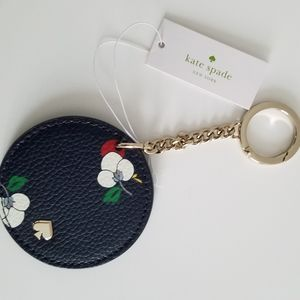 NWT Kate Spade Navy Leather Circle Key Fob